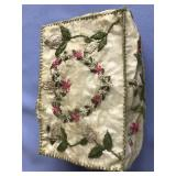 Embroidered lidded seal gut box with floral design