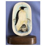Michael Scott colored scrimshaw of a penguin and h