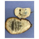 Lot of 2 scrimshaw ivory platchet       (3)