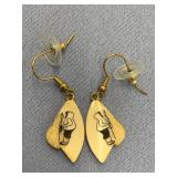 Pair of fossilized scrimshaw ivory earrings by Car