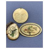 Lot of 3 scrimshaw ivory pendants      (O 1)