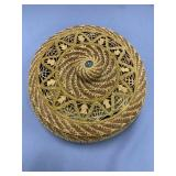 Lidded basket, made from long leaf pine needles, h