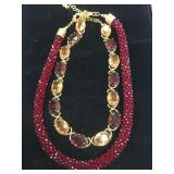 "Bead and Stone Fashion Necklace 16""       (O 19)"