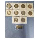 Lot of 10 of various date Kennedy half dollars and