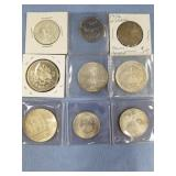 Lot of 9 miscellaneous foreign coins w/various dat