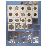Bag lot of miscellaneous foreign coins w/various d