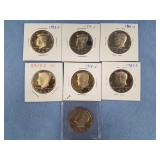 Lot of 7 Kennedy half dollars w/various dates