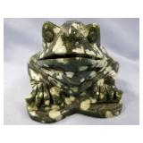 "Frog carved from Chinese jade about 6"" long"