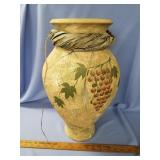 Hand painted pottery vase with painted grape vine