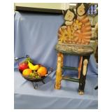 Lot of 2:  wicker basket with imitation fruit and