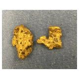Lot of 2 gold nuggets weigh about 5.7 grams total