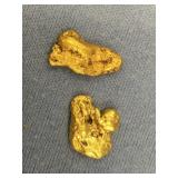 Lot of 2 gold nuggets weigh about 7.6 grams total