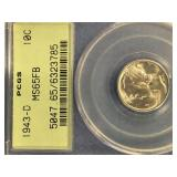 Mercury dime, 1943 D,  MS65 FB by PCGS        (33)