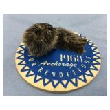 Fur Rondy pin: 1968 carboard and seal skin      (M