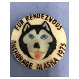 Fur Rondy pin: 1975 sled dog pin      (M 120)