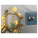 Lot of 2:  charm bracelet with multiple sterling,