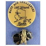 Lot of 2:  1987 Iditarod pin and pin from Kodiak,