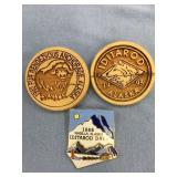 Lot of 3:  1992 wood Fur Rondy pin, 1995 wood Idit