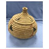 Lidded Hooper Bay grass basket with dyed accents 7