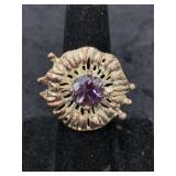Fashion ring adjustable with faceted amethyst cent