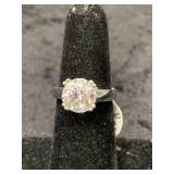Fashion ring size 6 1/2 with faceted basket mounte