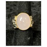 Fashion ring size 10 with rose quartz cabochon cen