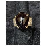Fashion ring size 9 with large teardrop garnet cab