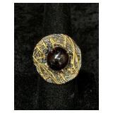 Fashion ring size 9 round garnet cabochon       (M