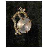 Fashion ring adjustable with faceted rose quartz i