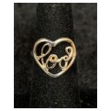 """Fashion ring size 5 heart shaped center """"COOL"""""""