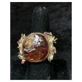 Fashion ring size 9 with rough stone centerpiece