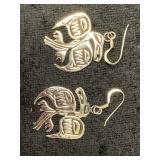 Pair of earrings in shape of Tlingit ravens    (M