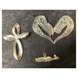 Lot of 3 pendants, 1 is heart shaped Tlingit desig
