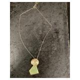 Abstract pendant with stone setting on chain    (M