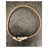 Braided leather choker with snake