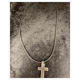 Modern cross pendant on a rubber cord    (M 91)
