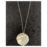 Abstract stone pendant on chain    (M 91)