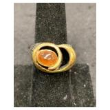 Fashion ring size 8 abstract face with orange citr