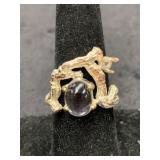 Fashion ring adjustable with smoky quartz center