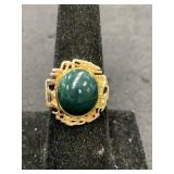 Fashion ring size 8 with dark green stone center p