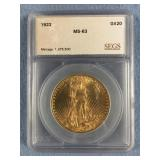 1922  $20 St. Gaudin gold coin MS63 by SEGS