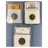 Lot of 3 graded coins: 1976 S PR70 CAM by SGS, 196