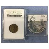Lot of 2:  1878 S Morgan silver dollar and a 1913