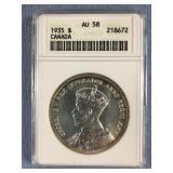1935 silver Canadian dollar AU58 by ANACS
