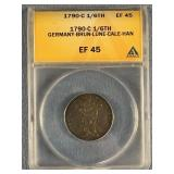 1790C German States, 1/6 Thaler, graded ef45 by AN