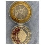 Lot of 2 silver coins, 1993 $10 gaming token & 198