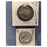 Lot of 2 quarters, 1997 S silver clad & 1962 silve