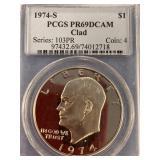 1974 S Eisenhower clad dollar, graded PR69 DCAM by