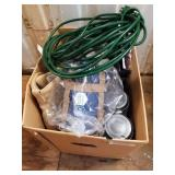 Bag w/electrical cords, collapsible water carrier,