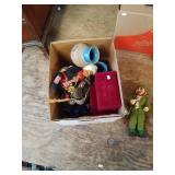 Box w/ceramic vases, vintage dolls, musical windin